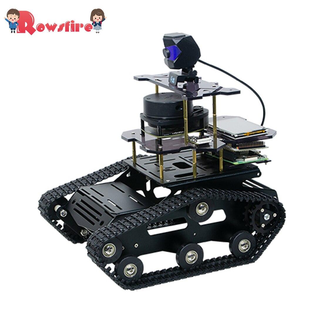 DIY Smart Robot Tank Chassis Car with Laser Radar for Raspberry Pi 4 (2G) - Black
