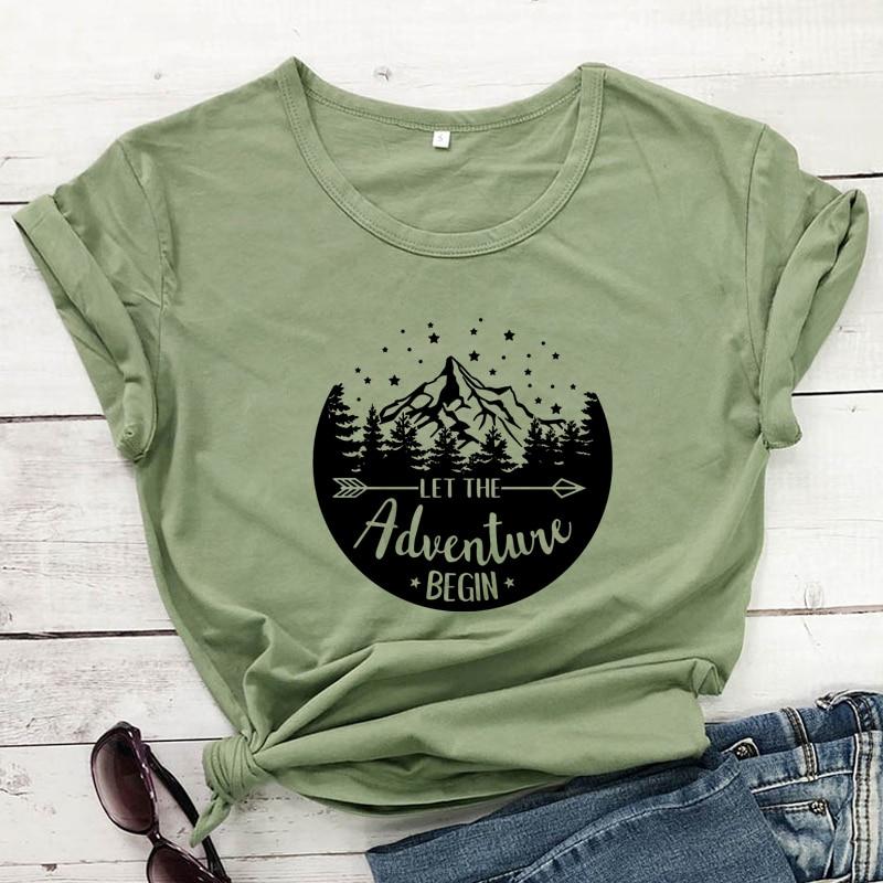 outdoors tee Adventure Begins shirt women\u2019s hiking shirt mountains tank top