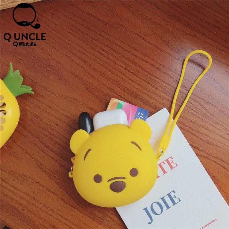 Q UNCLE Cartoon Winnie Bear Bags Girls Coin Purse Zipper Silica Gel Kawaii Wallet Chain Crossbody Bags Fashion Waterproof Pouch
