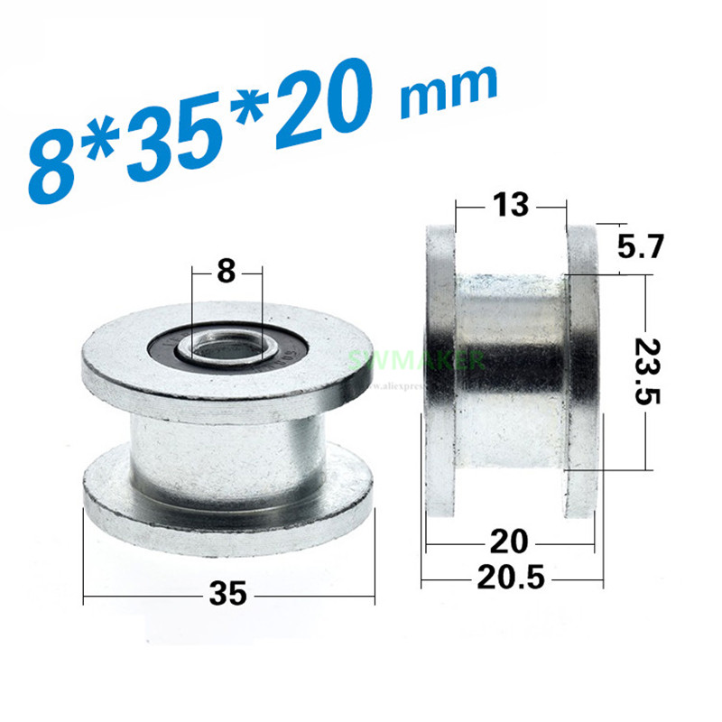 10pcs 8*35*20mm H Flat Groove Rolling Pulley / Bearing Wheel / Guide Wheel, Iron Galvanized, Rust Proof, H Groove Pulley