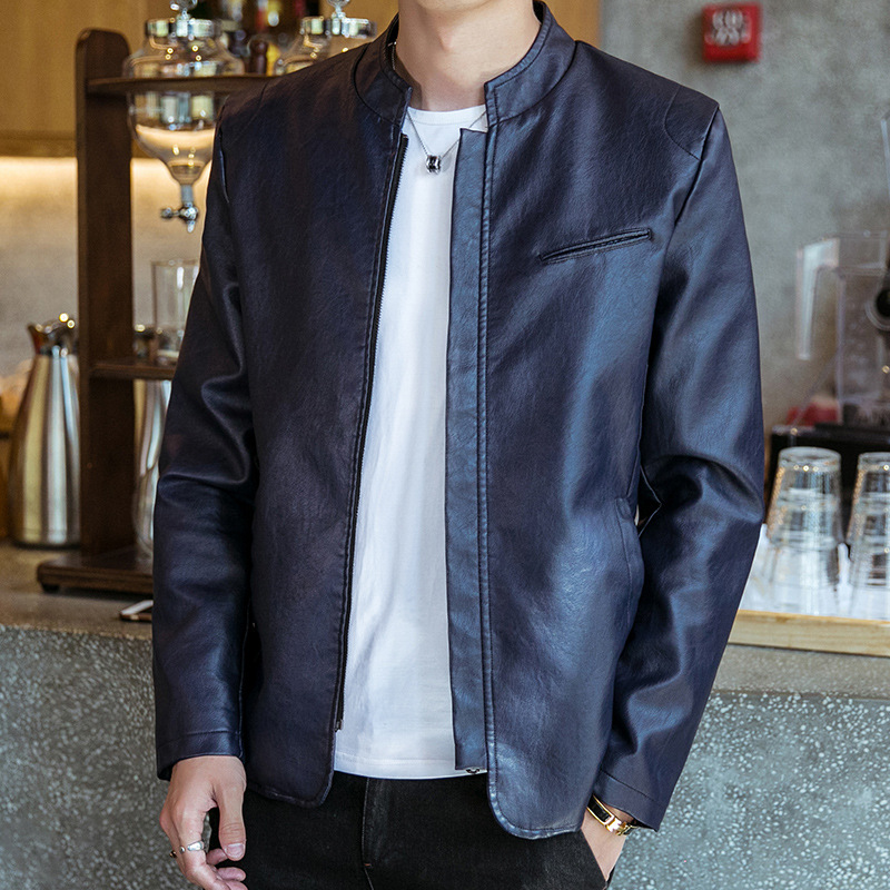 2019 Autumn New Style Leather Jacket Men's Slim Fit Korean-style Trend Locomotive PU Leather Teenager Handsome Stand Collar Coat