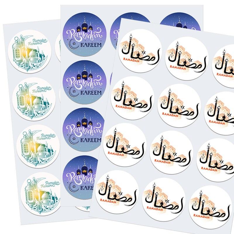 3.5/4.5cm ramadan mubarak adesivos decorativos ramadan kareem religião muçulmana festival feriados cartão decoração Decorações de festas DIY    -