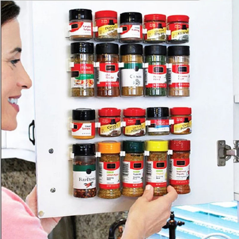 4 Pcs Kitchen Organizer Wall Mount Ingredient Spice Bottle Rack Plastic Clip Rack Cabinet Door Hooks Jars Spice Holder Tools