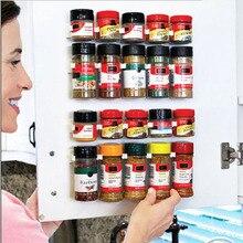 4 Uds. Estante de plástico para botellas de especias, ingredientes de montaje en pared, organizador, estante, ganchos para puertas de armarios de cocina, tarros, herramientas para sujetar especias herramientas cocina