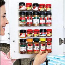 4 sztuk uchwyt kuchenny do przechowywania naścienny składnik butelka na przyprawy Rack plastikowy klips gablota z pułkami haczyki na drzwi słoiki Spice Holder Tools
