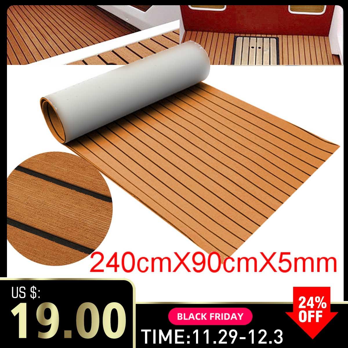Self-Adhesive 900x2400x5mm Foam Teak Decking EVA Foam Marine Flooring Faux Boat Decking Sheet Accessories Marine Brown Black