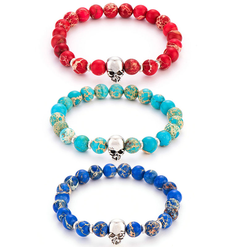 Poshfeel 8mm 2017 Natural Stone Skull Bracelets & Bangles Lava Beads Elastic Women Bracelets Men Jewelry Accessories MBR170172