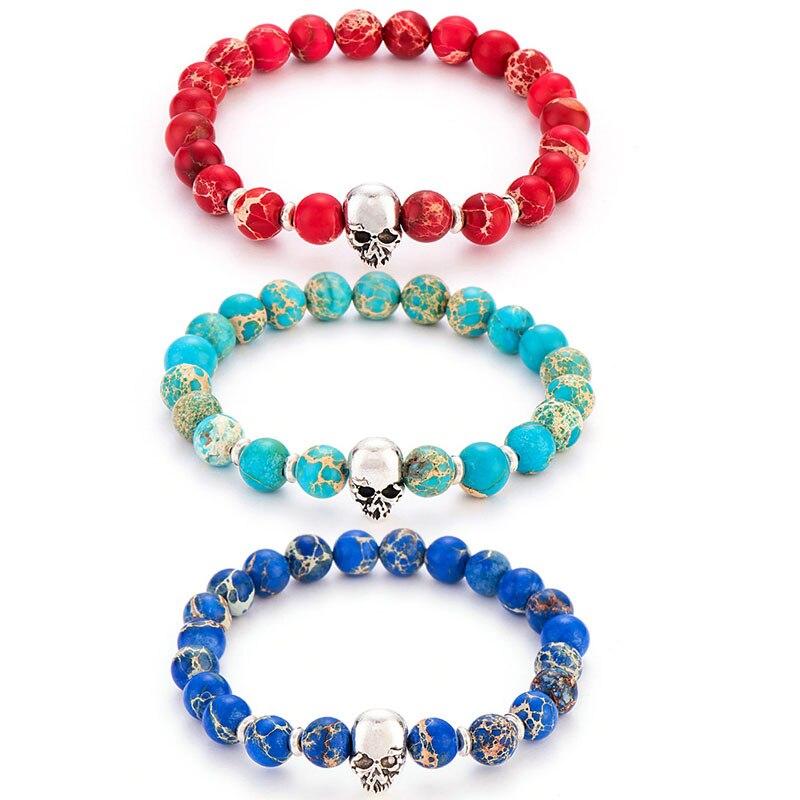 Poshfeel 8mm 2017 Natural Stone Skull Bracelets & Bangles Lava Beads Elastic Women Bracelets Men Jewelry Accessories MBR170172
