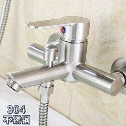 304 aço inoxidável pérola triplo puxando retirado do chuveiro de água válvula mistura torneira da banheira fabricantes uma geração fa