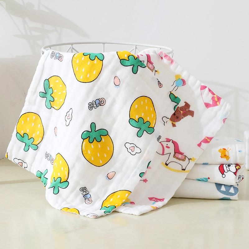 Купить с кэшбэком 5pcs/lot 6 layer Muslin Cotton Baby Towel Handkerchief Colorful Kids Wipe Cloth Newborn Baby Face Towel Bibs Feeding Towel 25*25