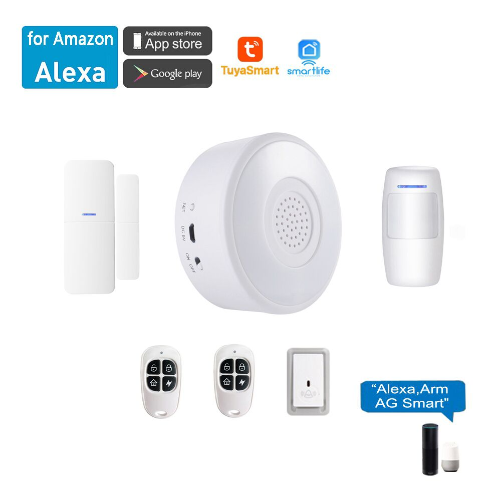 Top-433MHz Wireless Home Security Alarm System Remote Control Door Sensor Wired Siren Protection Kit For House Garage