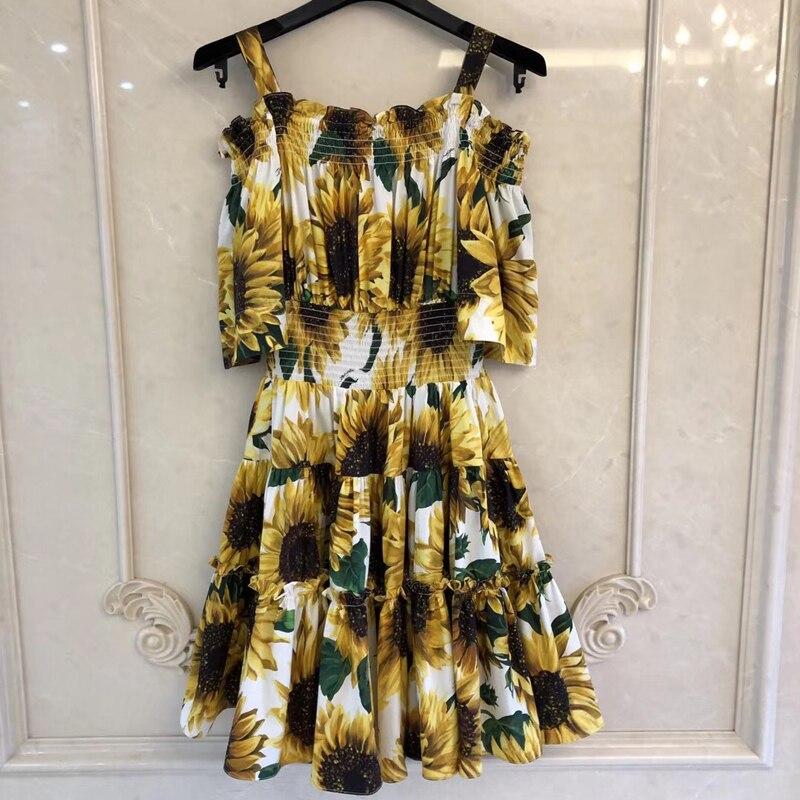Robe de mode d'été femmes une ligne fleur impression partie décontracté Vintage robes élégant sans manches dames robe Vestidos