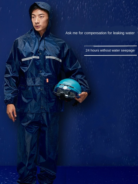 Adult Nylon Blue Raincoat Rain Pants Suit Set Waterproof  Hiking Biking Rain Coat Jacket Mens Sports Suits Capa De Chuva Gfit