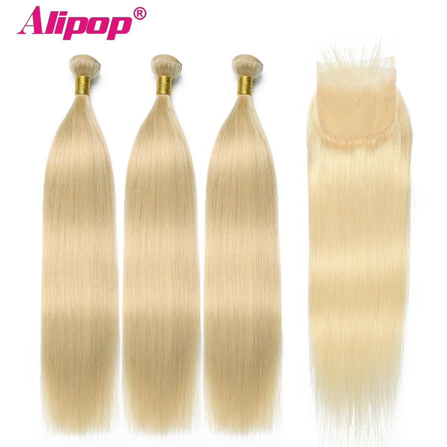 Alipop Peruvian Hair Straight Hair 3 Bundles With Closure 613 Blonde Color Hair Human Hair With 4x4 Closure Non Remy