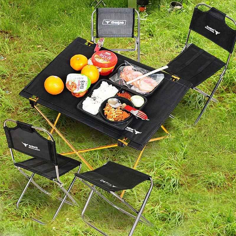 屋外キャンプ小さな折りたたみ表ポータブルアルミ合金ピクニック家具バーベキュー超軽量