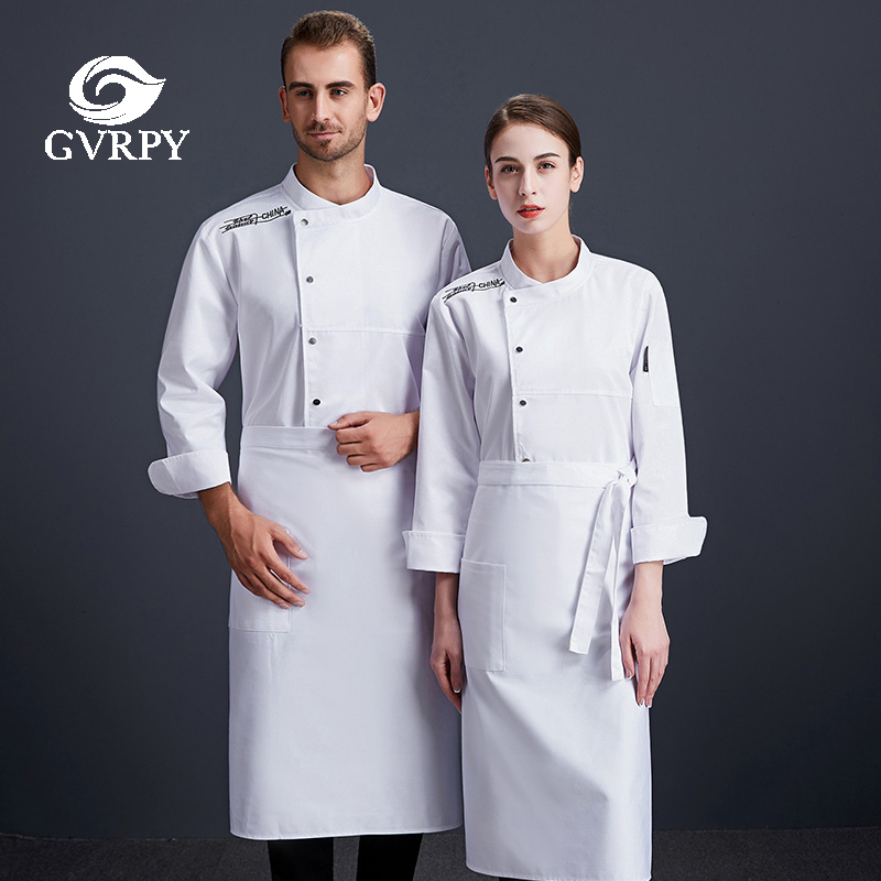 Embroiderey Solid Color Cooking Jacket High Quality Unisex Chef Uniforms Hotel Cafeteria Cafe Bakery Hair Salon Waiter Uniform