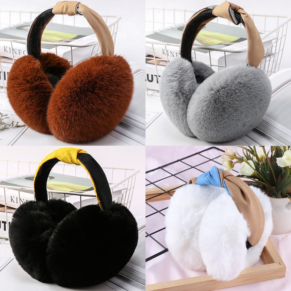 Fashion Women Winter Foldable Earmuffs Students Simple Versatile Cute Warm Plush Ear-cap Earlap