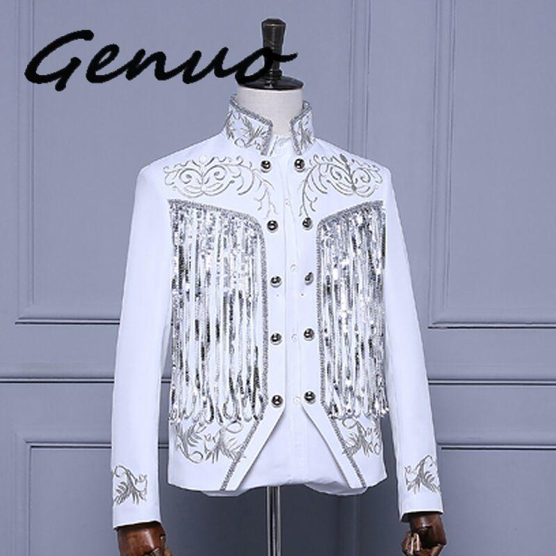 Genuo NewMen's Gold Silver Twinkle Tassel Sequins Embroidery Double Breasted Stage Singer Suit Jacket Men Slim Fit Blazer Design