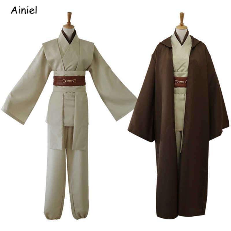 Star Wars 9 Jedi şövalye Cosplay kostüm Mace Windu üniforma Obi Wan Kenobi pelerin Ahsoka Tano cadılar bayramı partisi erkekler yetişkin