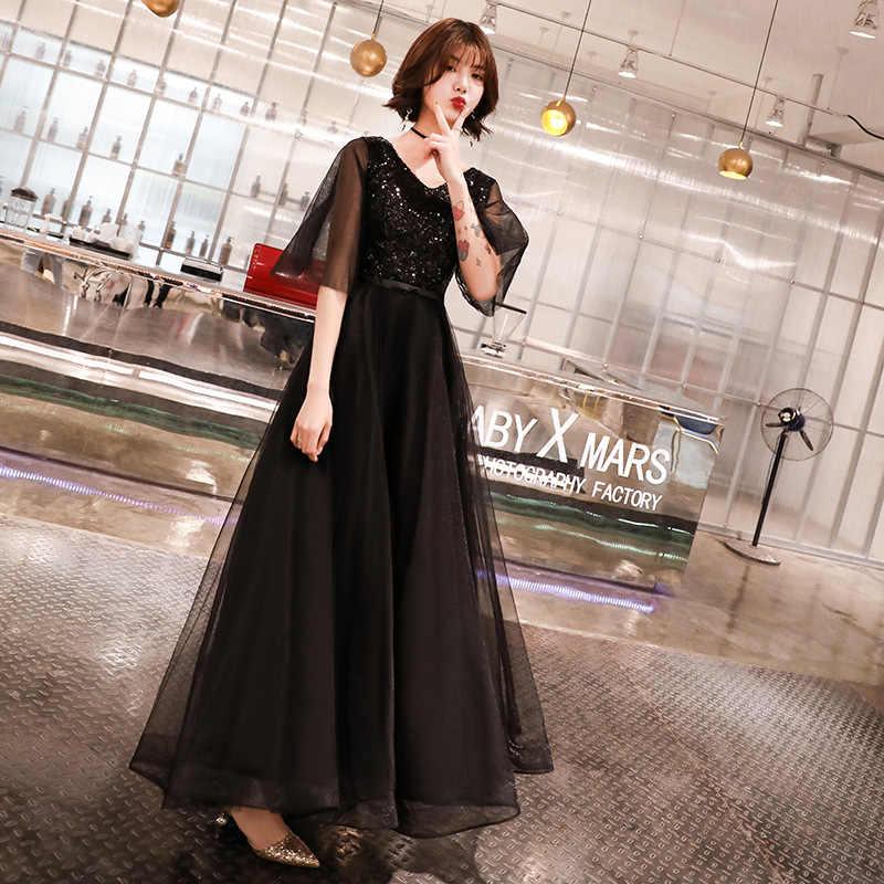Negro Para Mujer Con Cuello En V Vestido De Fiesta De Boda Manga Acampanada Cheongsam Elegante Vestido De Graduación Maxi Qipao Vestido Largo Vestido