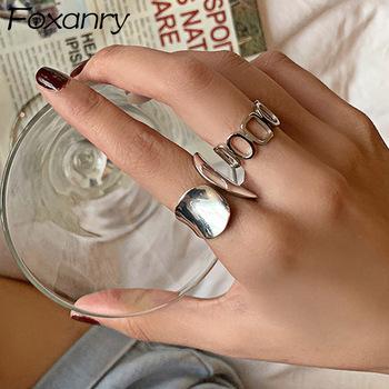Foxanry minimalistyczny 925 Sterling Silver szerokość pierścienie dla kobiet nowy mody twórczej z dziurką geometryczne Handmade Party biżuteria prezenty tanie i dobre opinie 925 sterling CN (pochodzenie) Kobiety CYRKON Zewnętrzna ocena Drobne Brak Pierścionki RAS0300 GEOMETRIC TRENDY Obrączki ślubne