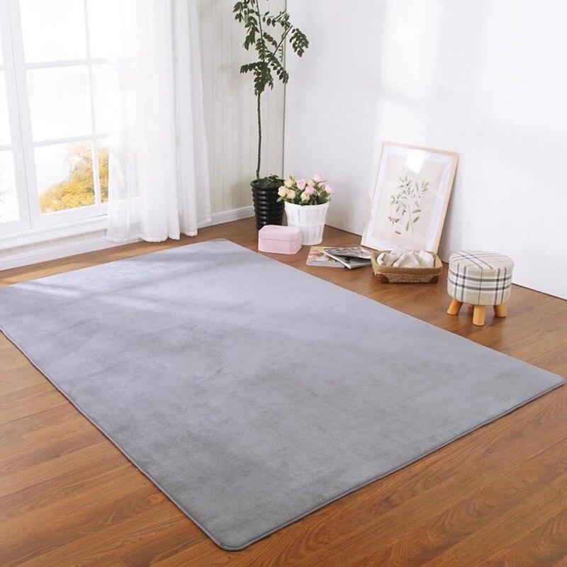 솔리드 컬러 두꺼운 산호 벨벳 카펫 현대 거실 지역 카펫 침실 베드 사이드 깔개 다다미 크롤 링 매트 홈 인테리어