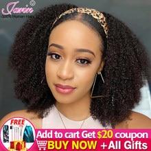 Afro perwersyjne kręcone pałąk peruki 180% 200% 250% gęstość włosów ludzkich peruka bezpłatne pałąk dla czarnych kobiet Afro loków Remy Jarin włosów
