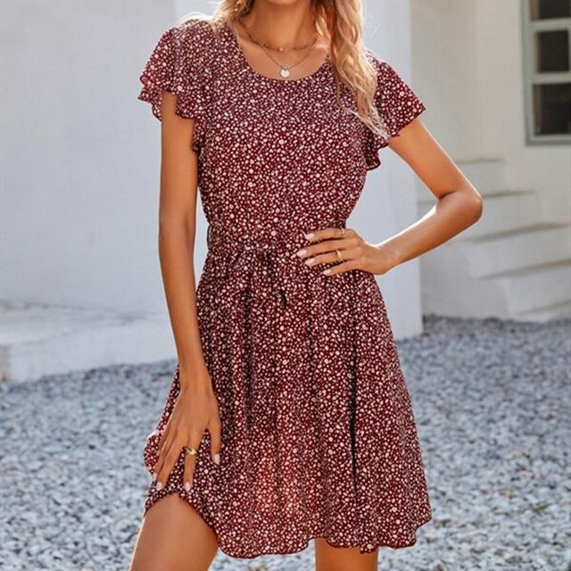 hirigin 2021 Women Dress Boho Floral Ruffle Short Mini Dress Summer Knot Sexy V-Neck Party Holiday Dress Femme vestido de mujer 4