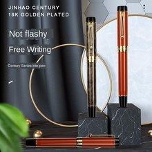 Jinhao 100 caneta tinteiro de resina centennial 18kgp médio/dobrado nib 0.6 /1.2mm com conversor clipe de ouro caneta de presente de escritório de negócios