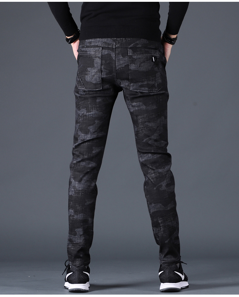 Free shipping new fashion men's male casual Original camouflage jeans men plus velvet autumn stitching pants Slim Korean C3129 95