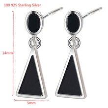 цены Fashion Silver Earring Women Simple Geometric Triangle 925 Sterling Silver Enamel Earrings for Women Party Earring Jewelry
