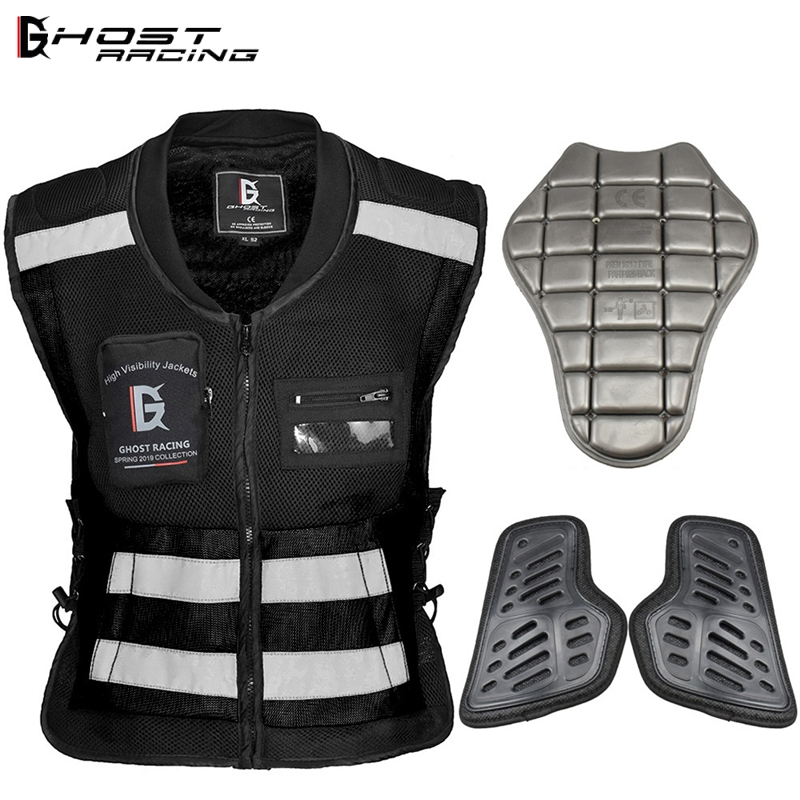 GHOST RACING Back Chest protector Motorcycle jcaket vest built-in protective gear Motobike Motocross Riding Off-Road Safety Vest