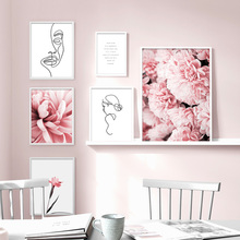 Pink Flower Abstract Line Women Quote HD Wall Art Canvas Painting Nordic Posters And Prints Pictures For Living Room Decor