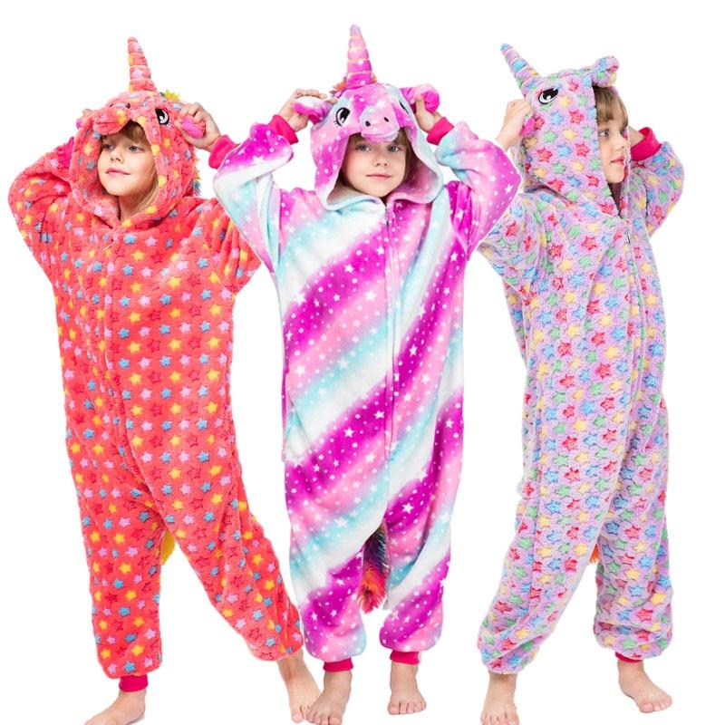 Children Animal Unicorn Pikachu Pajamas Onesies Kids Boys Girls Pijamas Stitch Cosplay Costume Winter Baby Christmas Sleepwear