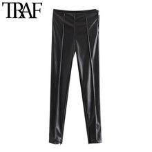 TRAF – pantalon slim en Faux cuir pour femmes, Vintage, taille haute, fermeture éclair latérale, cheville