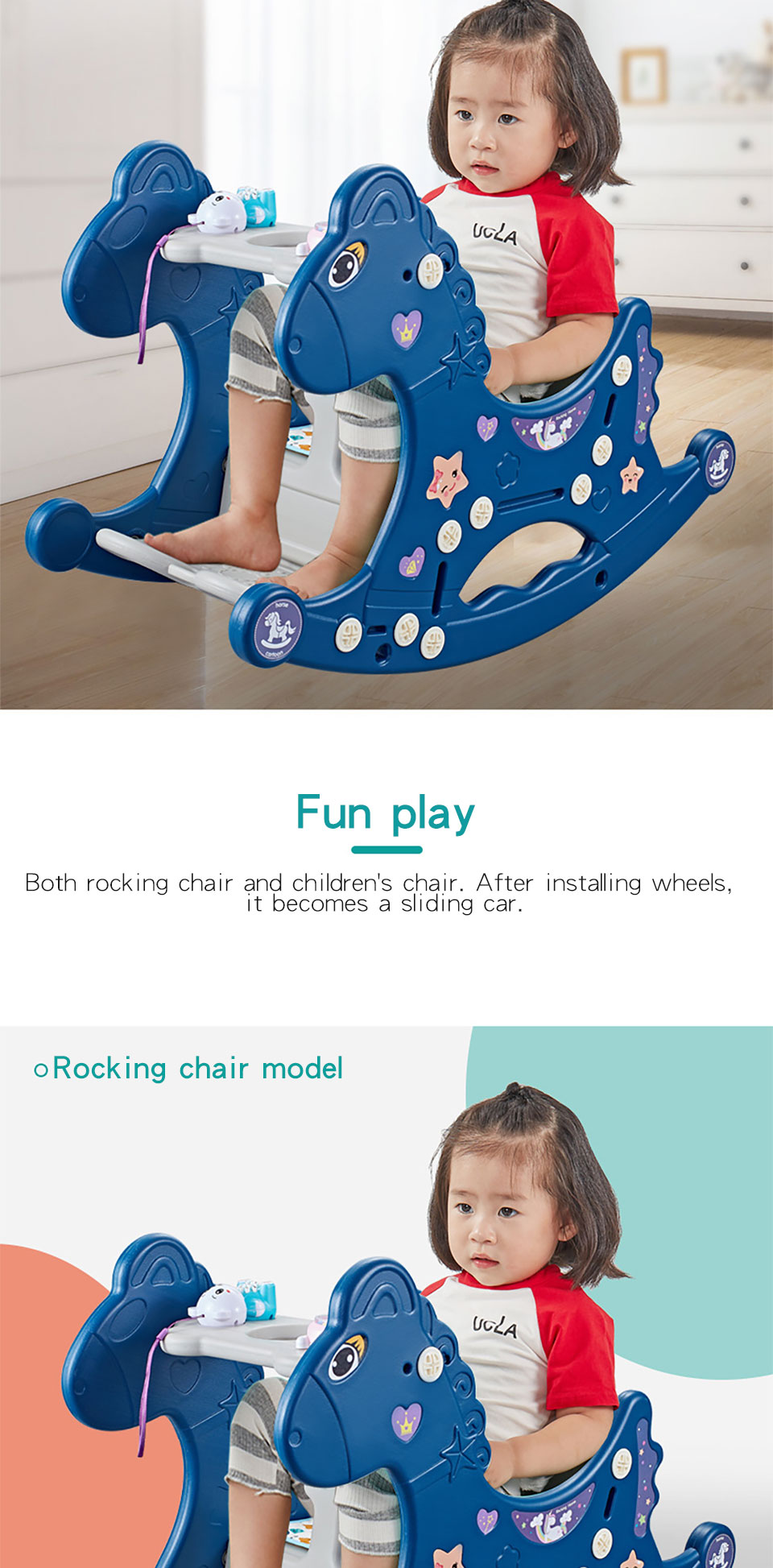 H0fce2d92714a4718a71251d615b5021fp Ruizhi Children Three-In-One Plastic Rocking Chair Baby Indoor Multi-Function Rocking Horse With Music Kids Sport Toys RZ1197