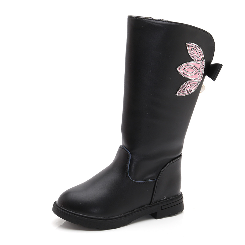 2019 New Fashion Flower Sequins Princess High Boots Big Kids Winter Warm Plush Boots Litter Girls Waterproof Shoes Children Winter Boots 3 4 5 6 7 8 9 10 11 12 13 14 15 Year Old Black Red