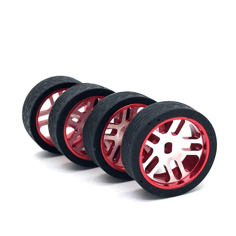 4Pcs 1:28 Metal RC Car Wheel Hub Tires Narrow Tire Rims For 1/28 Wltoys iw04m awd iw02 rm02 rm03 dgawd mini-z RC Car Parts