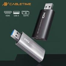 Cabletime 4k захват видео hdmi карта захвата usb 30 20 60fps