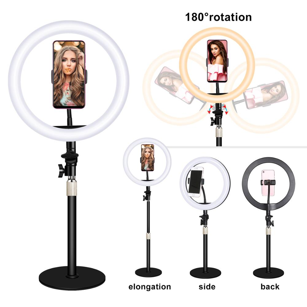 LED Ring Light Video Photography Fill-in Lamp 3200K-5600K with Ballhead Cell Phone Holders for iPhone Samsung Huawei Xiaomi lamp
