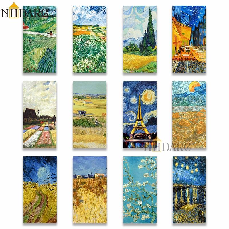 NHDARC Ван Гог Вертикальная Картина на холсте картина жикле принт Ван Гога коллекция плакаты Настенная картина для гостиной крыльца домашний ...