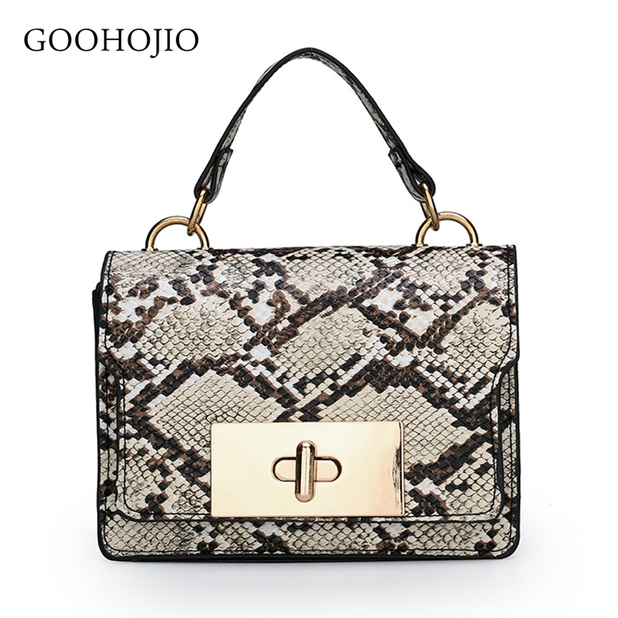 GOOHOJIO Luxurious handbag shoulder bag luxury handbags women bags designer High grade printing leather fashion messenger bag-in Top-Handle Bags from Luggage & Bags