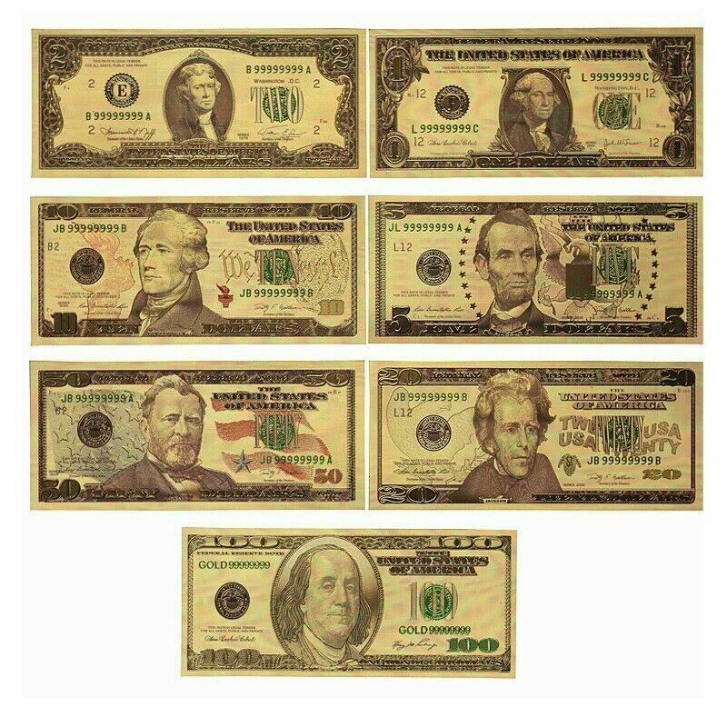 7PCS USD 1/2/5/10/20/50/100 Gold Dollar Bill Volle Set Gold Banknote Nicht-währung