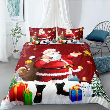 3D Drop ship Santa Presents Bedding Sets High Quality Reversible Quilt Duvet Cover Single Double King