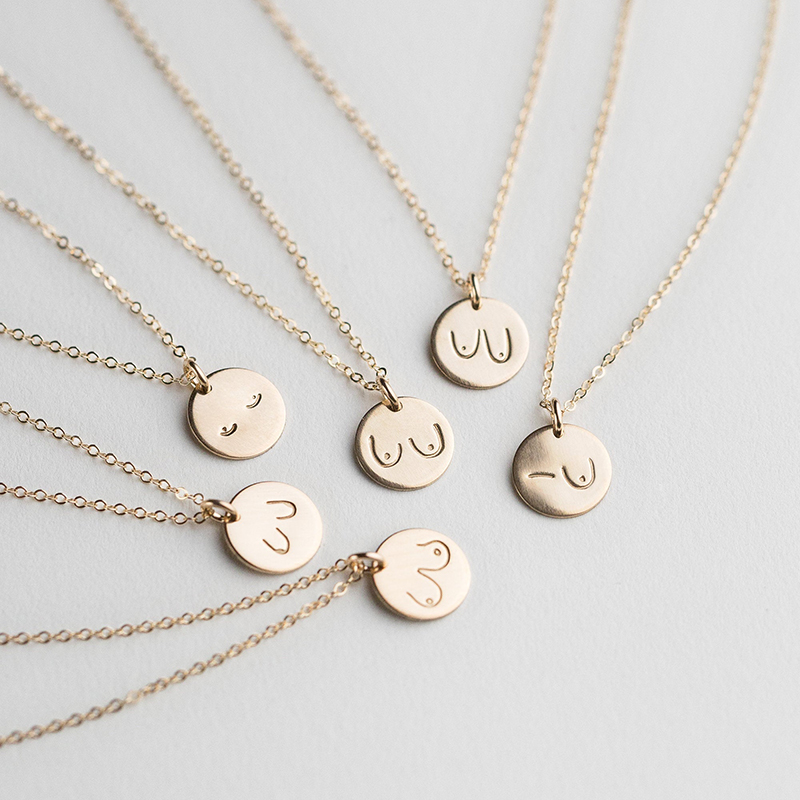 Collier de seins bijoux féministes à la main personnalisé 13 MM/16 MM pièces de monnaie tour de cou personnalisé or rempli pendentifs Collier Kolye bijoux