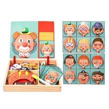 Wooden Magnetic Puzzle Toys Children 3D Figure Animals Drawing Board Learning Wood for Kids