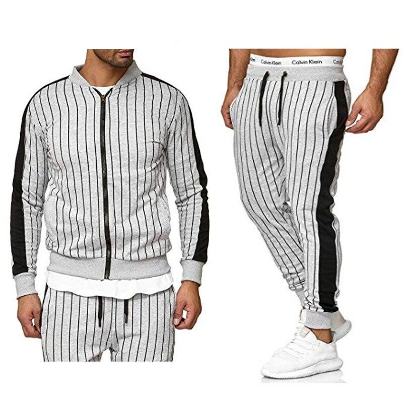 Brand Tracksuit For Men 2 Pieces Set 2019 Autumn Korean Fashion Striped Baseball Collar Sweatshirt And Joggers Pants Hip Hop