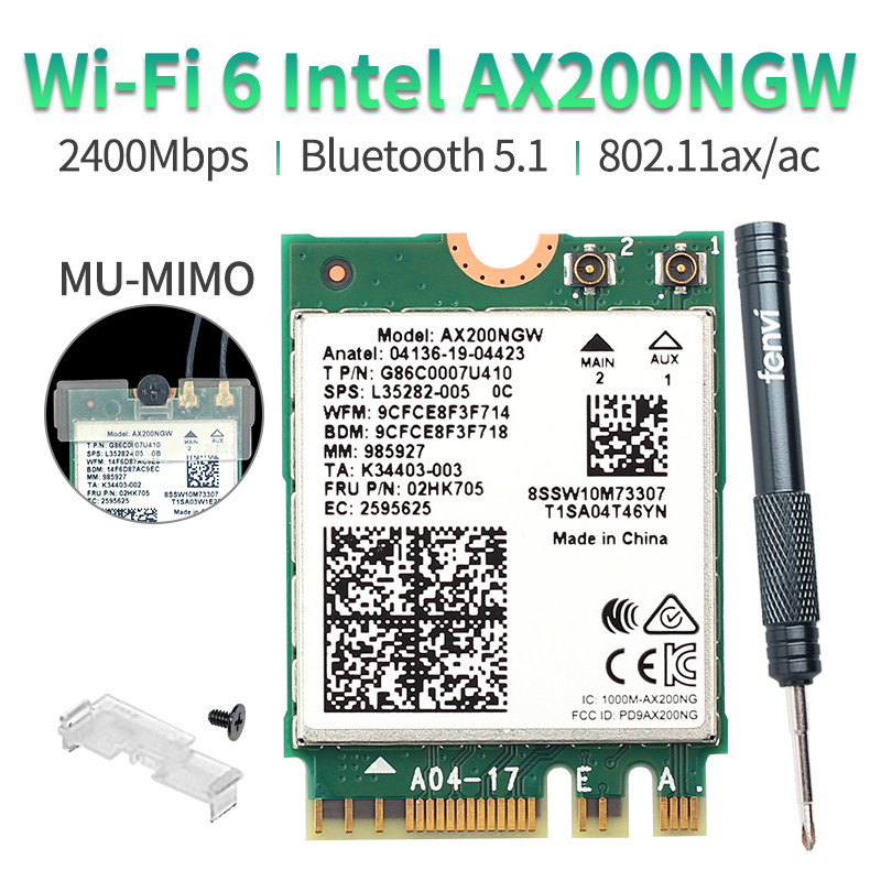 2400Mbps Dual Band Wifi 6 M.2 Wireless Wifi Card For Intel AX200 AX200NGW Adapter Bluetooth 5.1 802.11ax 2.4G/5Ghz MU-MIMO(China)