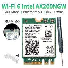 Carte réseau wi fi 6 m.2 802.11ax, 2400/5Ghz, 5.1, 2.4 mb/s, adaptateur sans fil double bande, avec Bluetooth MU MIMO, pour Intel AX200 AX200NGW