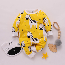 Cotton Newborn Crawling Suit Casual Baby Zebra Pattern Long-sleeved Jumpsuit Cute
